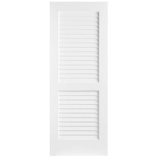Smooth Finish Solid Wood Sliding White Panel False Louver Door