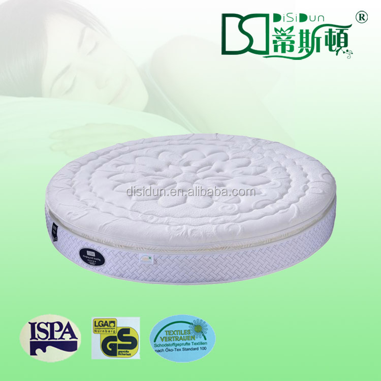 Comfortable round bed pillow top spring mattress