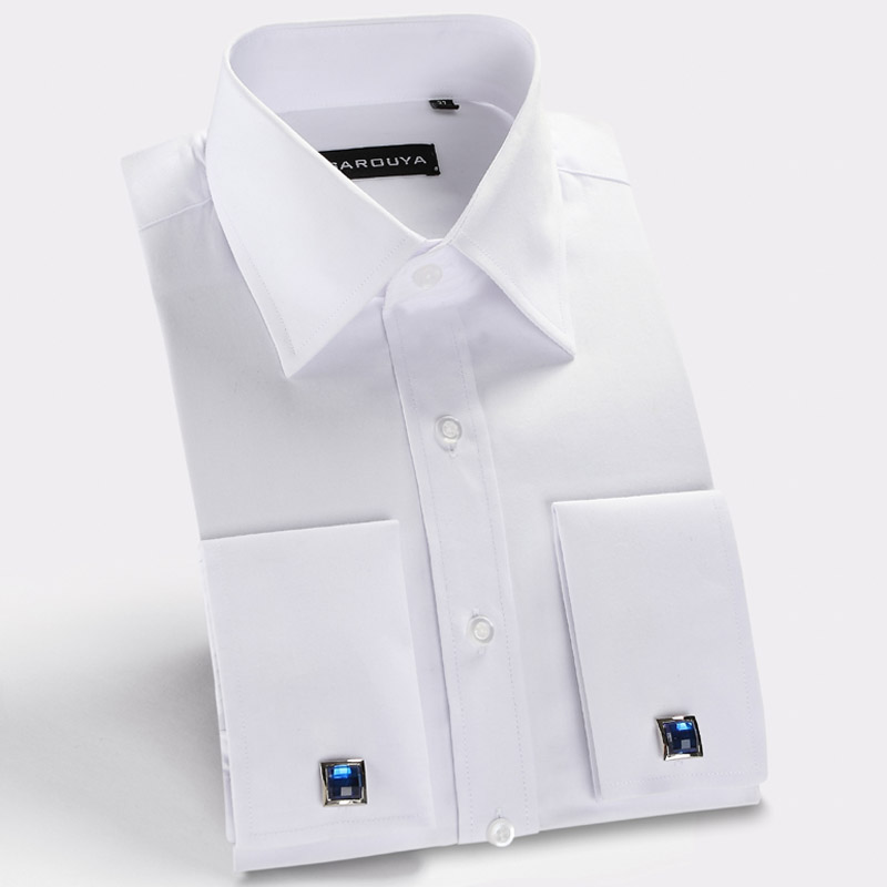 Mens White French Cuff Dress Shirt with Cufflinks Men Shirt Long Sleeve Slim Fit Brand Imported Clothing Men Clothes 2015