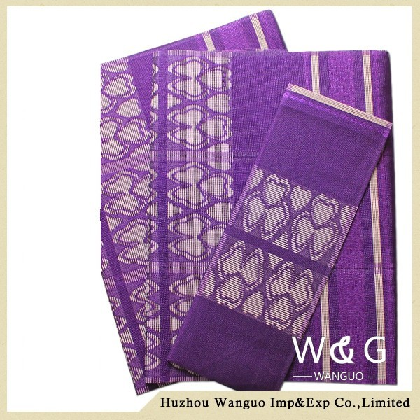 Purple african aso oke gele fabric aso-oke head tie for wedding