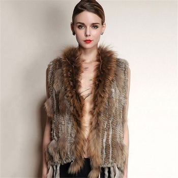 womens natural real rabbit fur vest with raccoon fur collar waistcoat/jackets rex rabbit knitted gilet