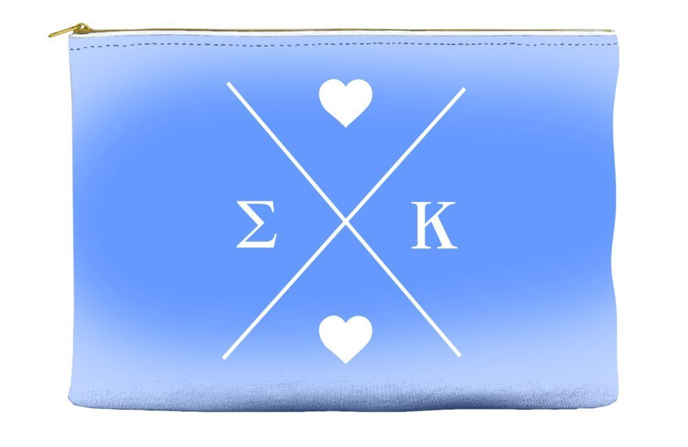 Sigma Kappa Hipster Logo Purple Cosmetic Accessory Pouch Bag for Makeup Jewelry & other Essentials