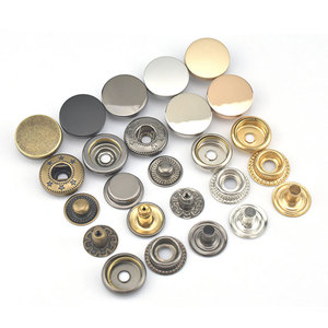 OEM decorative accessories logo design round press shirt bag cloth jeans brass Zinc alloy custom metal snap buttons for clothes