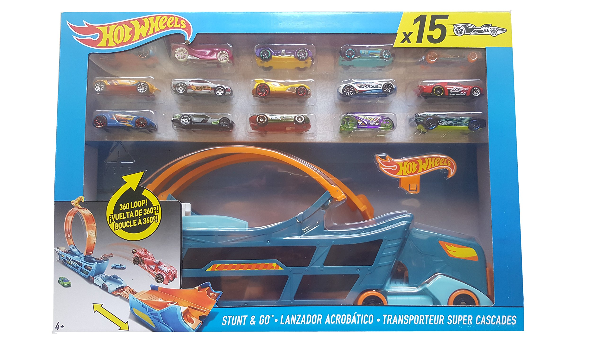 Hot Wheels Stunt & Go Track Set With 15 Cars