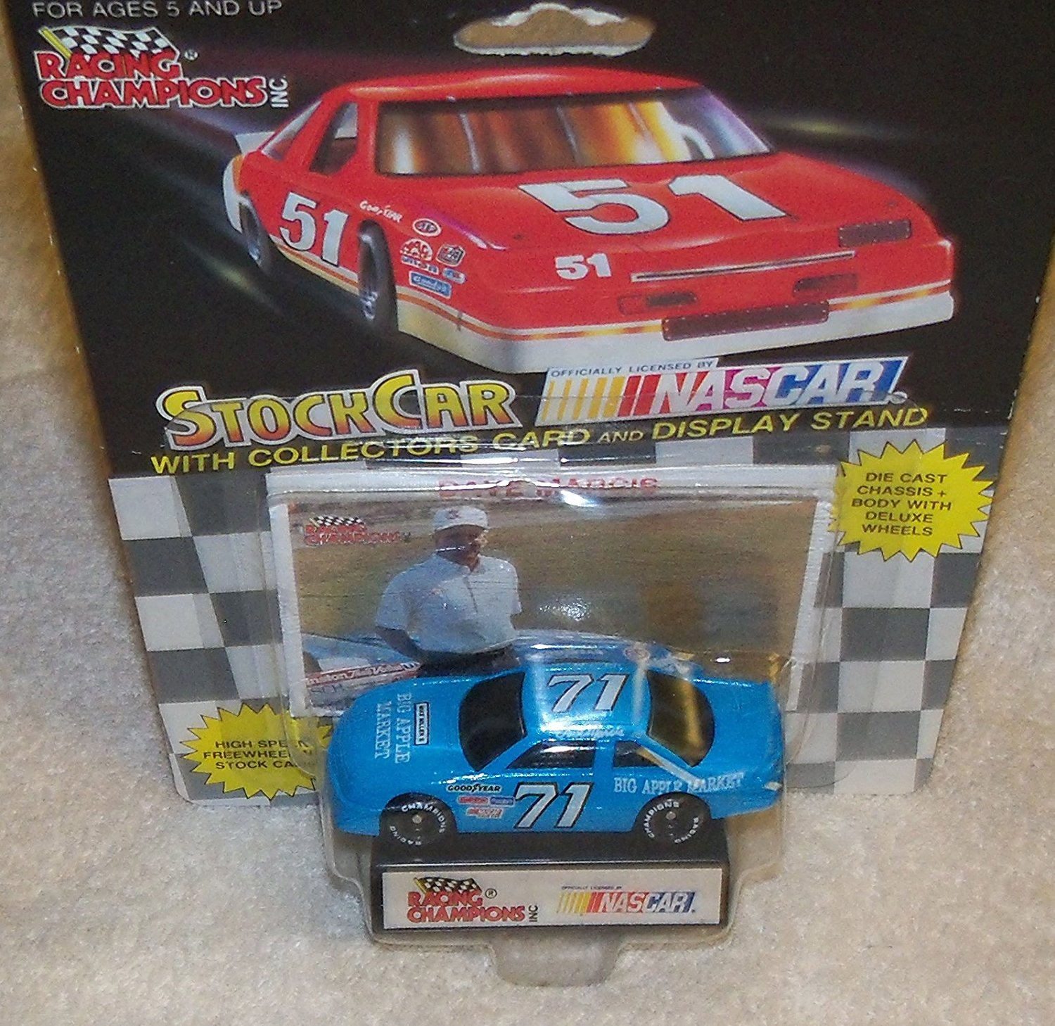 NASCAR #71 Dave Marcis Big Apple Markets Racing Team Stock Car With Driver's Collectors Card And Display Stand. Racing Champions Black Background Red Series 51 Car