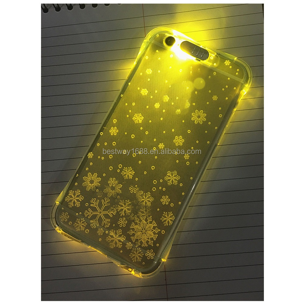 Transparent clear Led incoming call flash phone case light up phone case