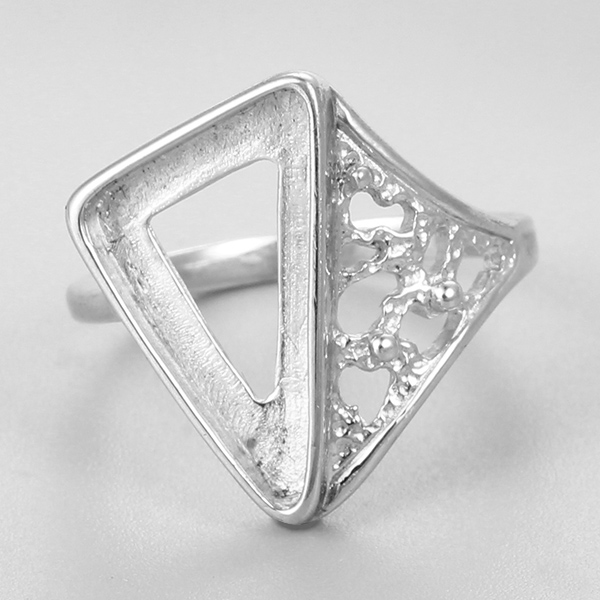 Triangle bezel fashion ring boys silver finger rings mounting photos