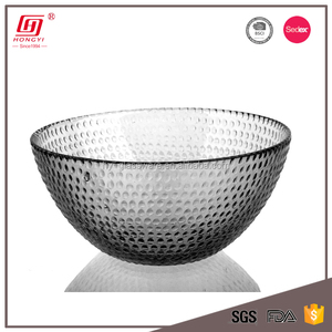 Wholesale glassware personalized large clear glass fruit bowl salad bowl