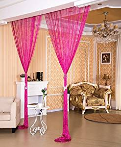 WPKIRA Window Treatments Rainbow Line screens Curtain Rare Flat Silver Ribbon Door String Curtain Thread Fringe Window Panel Room Divider Cute Strip Tassel Party Events 39x78 Inch 1 Panel Rose