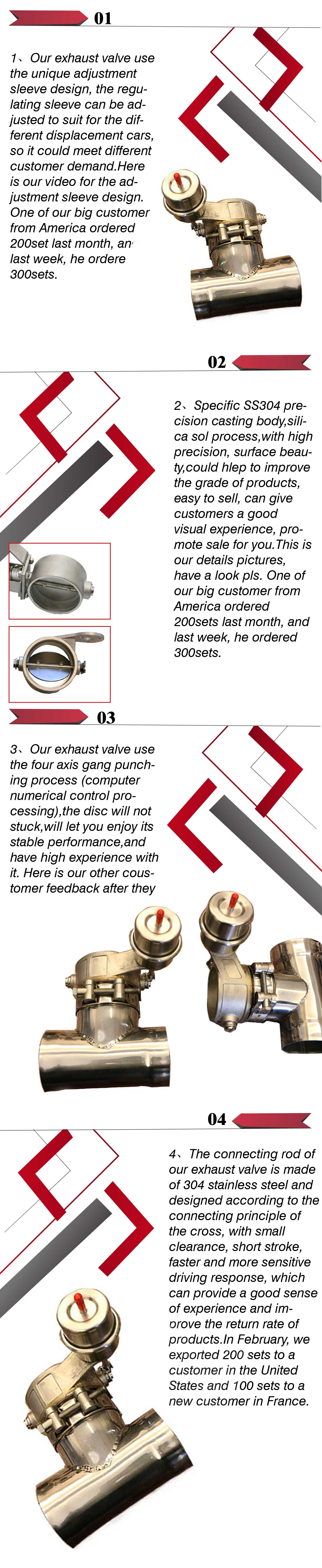 "GRWA High Quality Popular Auto Parts 2.5"" 63mm Vacuum Exhaust Valves With Normally Open Style"