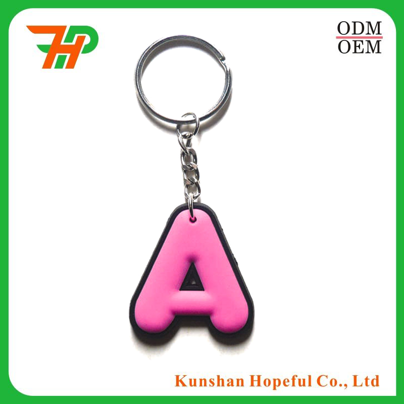Custom PVC/leather cheap keyring any logo A letter keychain
