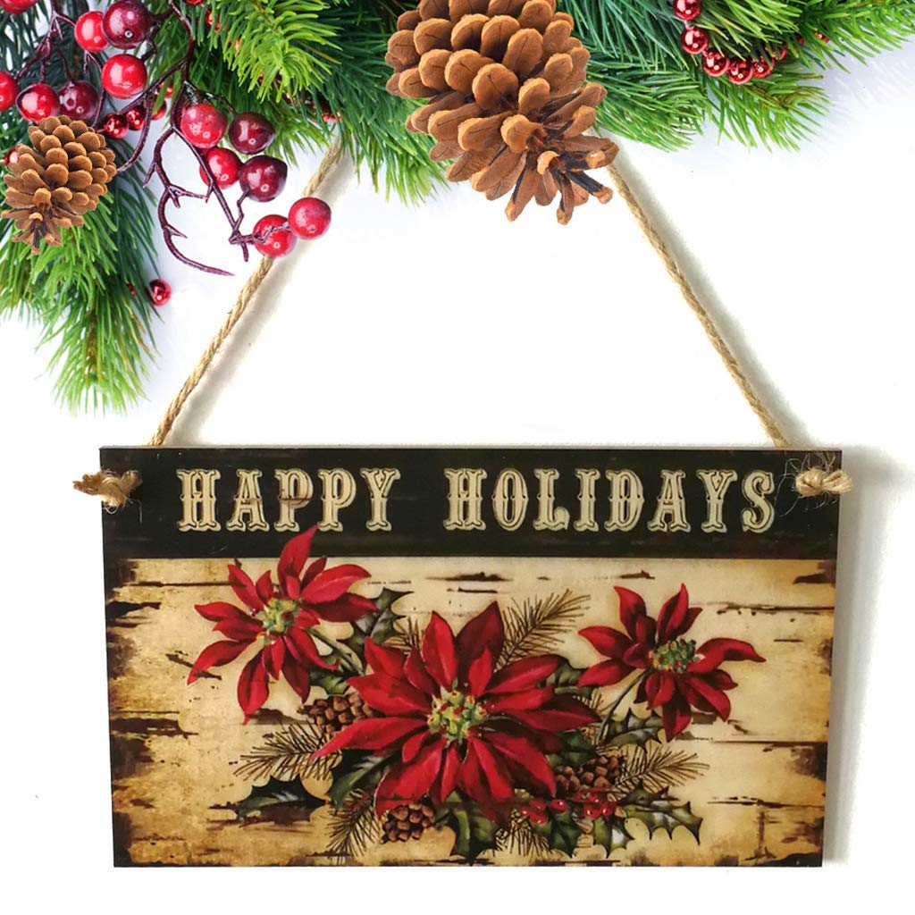 EA-Stone Door Hanging Sign, Happy Holidays Wood Hanging Signs Flowers Plaque Christmas Party Home Decoration