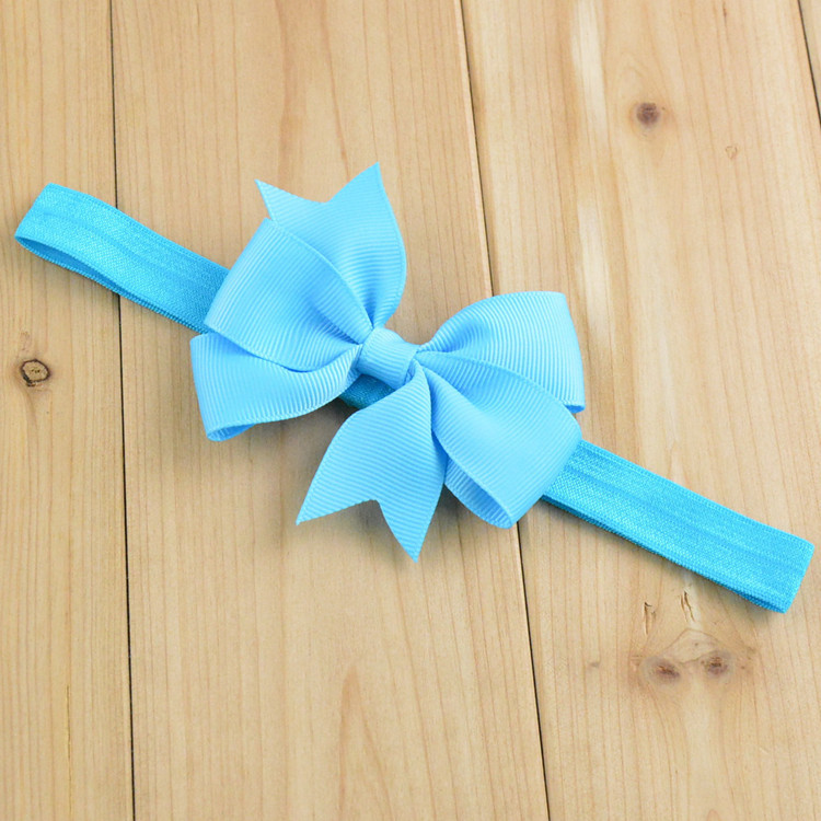 18 Colors 8cm Handmade Satin Ribbon Decorative Babies Big Hair Bow Headband