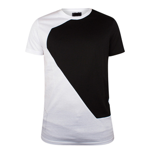 Latest fashion design block color t-shirts in europe for man