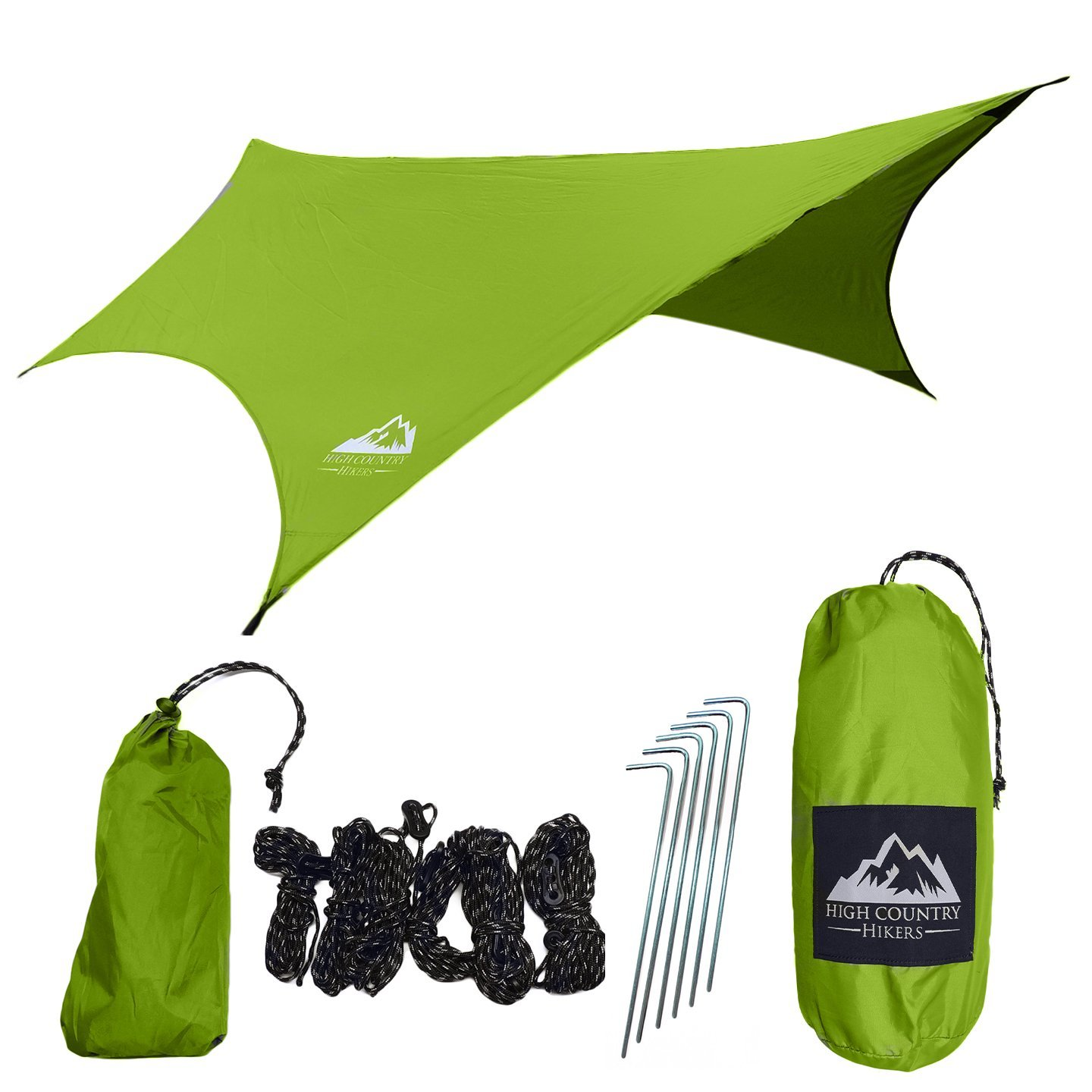 High Country Hikers Hammock Rain Fly Tent Tarp: DIAMOND RIPSTOP Nylon, Water Proof, Lightweight, Includes Stakes & Ropes, Great for Camping, Hiking, Backpacking, Travel | By