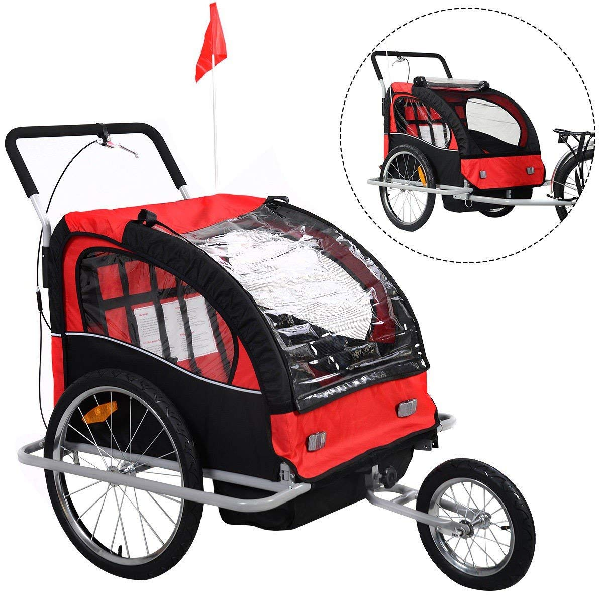 418716ef74c Get Quotations · 2 in 1 Double Child Baby Bike Trailer Bicycle Carrier Jogger  Stroller