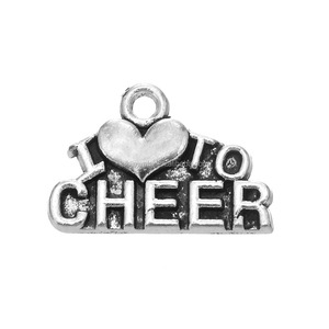 Nickle Free Lead Free Fast Shipping Zinc Alloy Antique Silver Plating Letters I Love To Cheer Charms