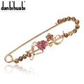 Cheap Gold Safety Pin Brooch Bow Jewelry Fashion Crystal Yellow Pink Rhinestone Brooch For Women Scarves