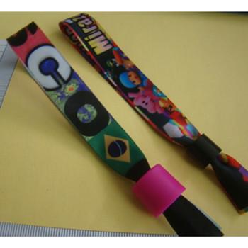 Stampa di scambio di calore tessuto braccialetto braccialetti/350*15mm  fibbiain plastica braccialetti tessuto