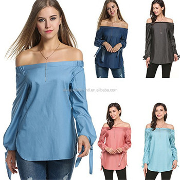 f85509b64d17c5 Amazon Hot Sale Off Shoulder Long Sleeve Solid Womens Tops Blouses ...