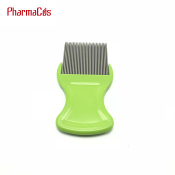 nit free FDA approval head metal lice comb with green hand