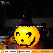 LED light giant inflatable halloween pumpkin hat for Halloween lawn decoration