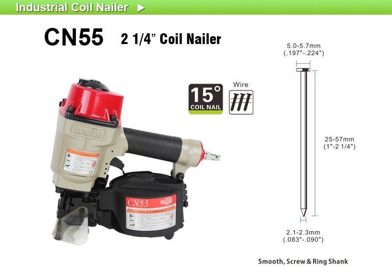 Meite Fence Nail Guns Pneumatic 55mm Coil Nailer For Coil Roofing ...