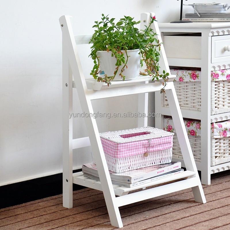 decoración de madera plegable planta con dos estantes madera