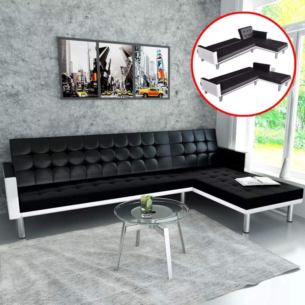 L-shaped Sofa Bed Artificial Leather Sofa Black and White Sofa Set Can be Easily Converted to a Bed