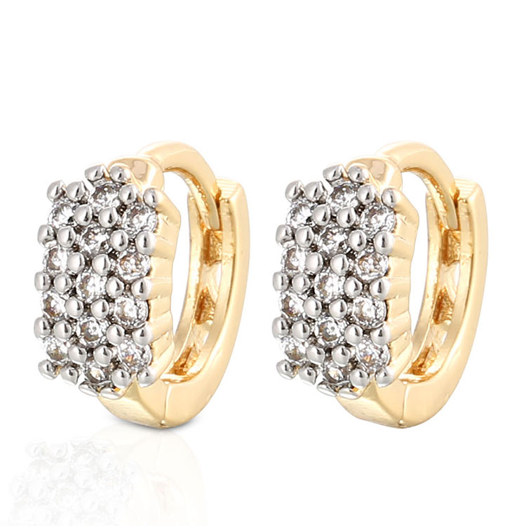 Wholesale Fashionable Copper Alloy 18K Gold and White Gold Plated Hoop Zircon Earrings for Women