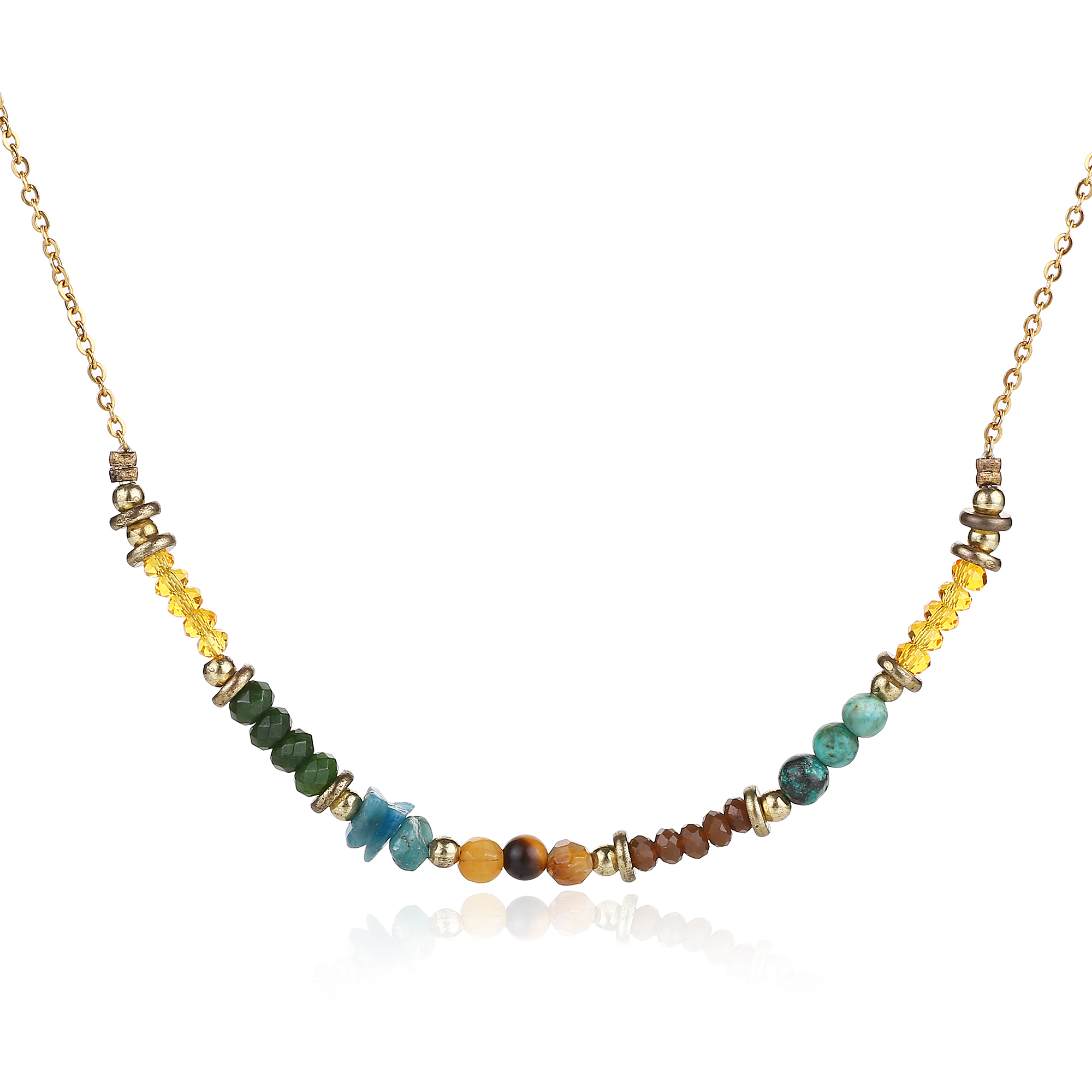 Multicolor Natural Crystal Oval Cluster Pendant Necklace Irregular Ore Resin Choker Sweater Chain for Women Ladies Girls E