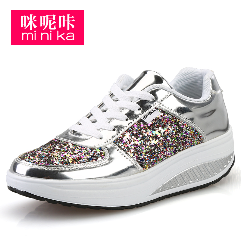 height increasing Shinning fabric shoes women fashion slim up shoes for women