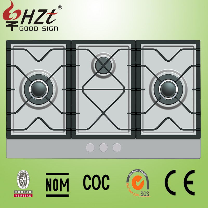 2017 kitchen appliances high quality Gas Stove 3 burner gas hob stainless steel panel
