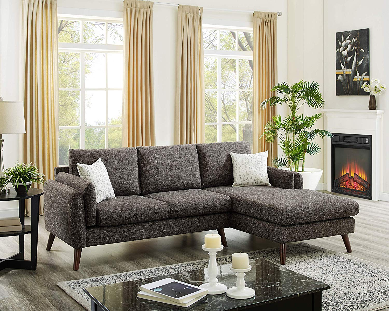 Dallas Brown Mid-Century Modern Sectional Sofa with Chaise Lounge in Brown Color Fabric