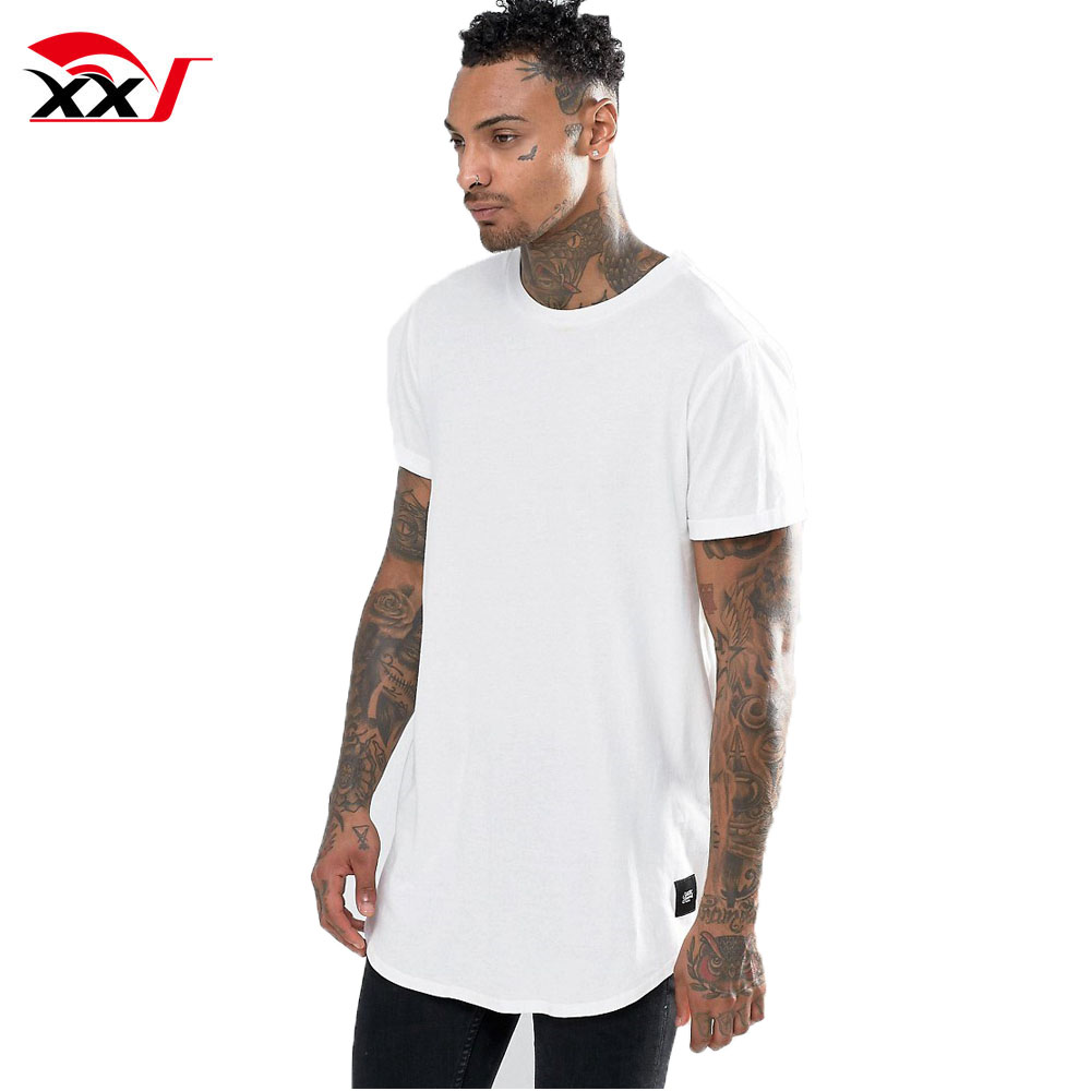 Urban T Shirts Men White Dress Shirt Plain Cotton Long Line T Shirt