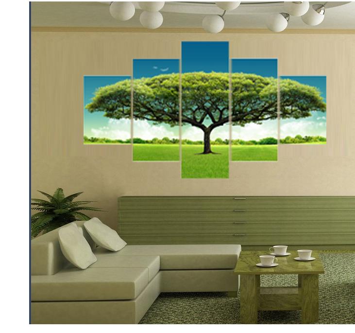 5 Panel Gedruckt Grün Baum Kunst Landschaft Modulare Bild Große Leinwand  Malerei Für Wohnzimmer Hause Wand Kunst Dekoration Gemälde - Buy 5 Panel ...