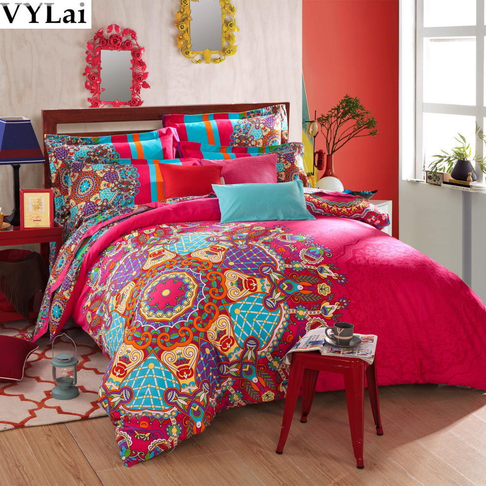 luxury red 5pcs boho bedding sets peach brushed fabric warm bed set queen king size 100 cotton. Black Bedroom Furniture Sets. Home Design Ideas
