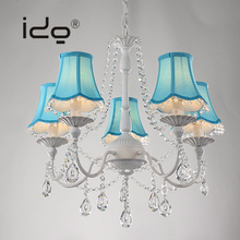 Blue Crystal Chandelier For Hotel Iron Pendant Lamp For Chandelier Modern Design