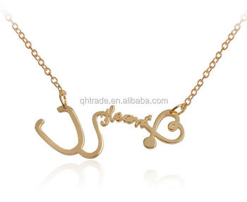 3 COLORS-Cute Medical Nurse or Doctor Stethoscope Heart Necklace Wholesale