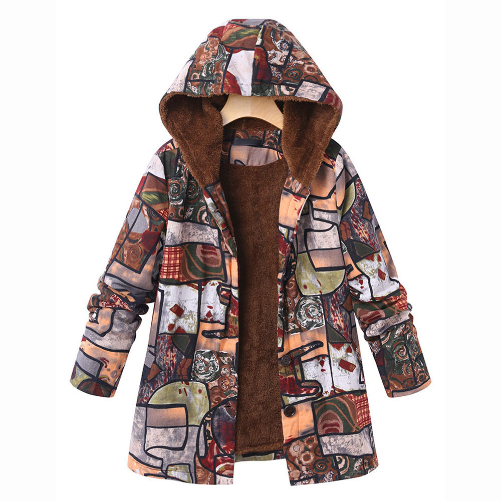 Womens Winter Warm Outwear Hooded Pockets Vintage Oversize Coats Plus Size UK 2020 Casual Jackets Coats Hoodies with Zipper Fashion Long Sleeve Tops with Hood