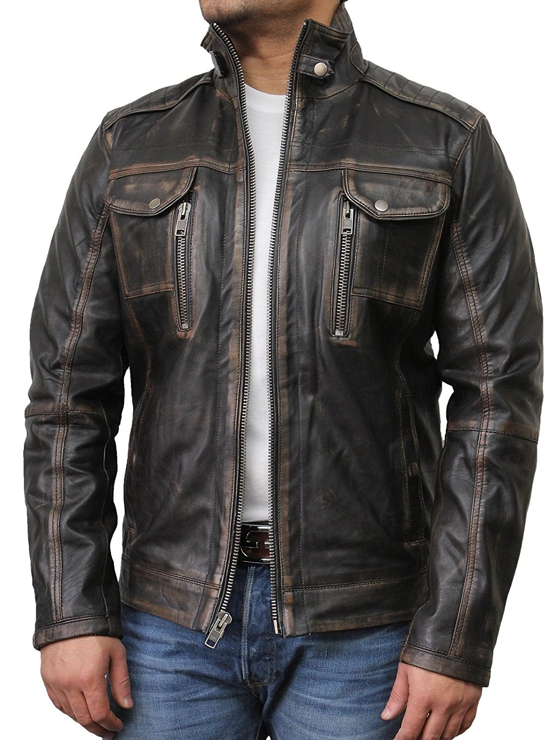 32d3970047252 Get Quotations · Brandslock Mens Leather Biker Jacket Vintage Distressed  Genuine Leather Motorcycle Jacket