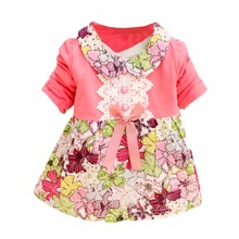 Summer  Princess Dress Toddler Baby Girls Floral Bow One Piece Kids Dress 0-2Y vestidos