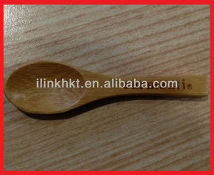 Mini Bamboo Cosmetic Spoon for mask engraved with Custom Burnt or laser Logo