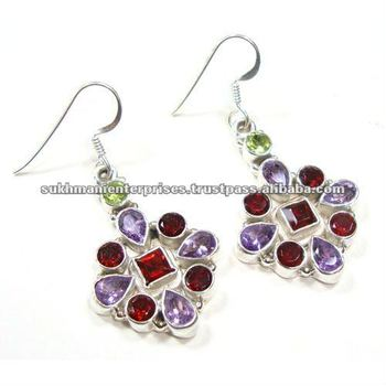 925 Sterling Silver Multi Color Semim Precious Stone Earrings