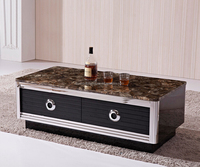 Modern design marble top center wooden coffee table with drawer CT013