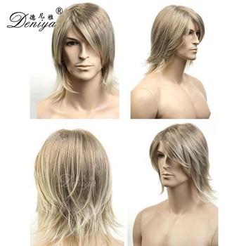 7306c555d Blonde hermoso peluca hombres Peluca de cabello natural para los hombres