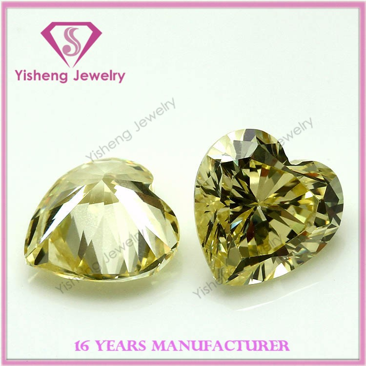 15mm Faceted Cut Good Fire Synthetic Canary Zircon Heart Stone