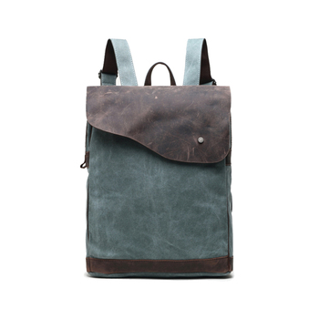 new list best prices cheap price Fashion New Design Canvas Genuine Leather Backpack Outdoor Travel ...