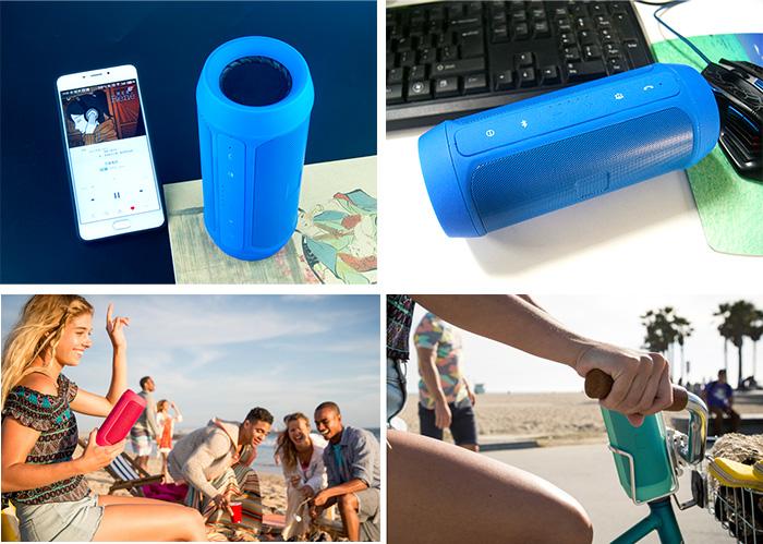 flip portable rechargeable charge 2 splashproof bluetooth speaker