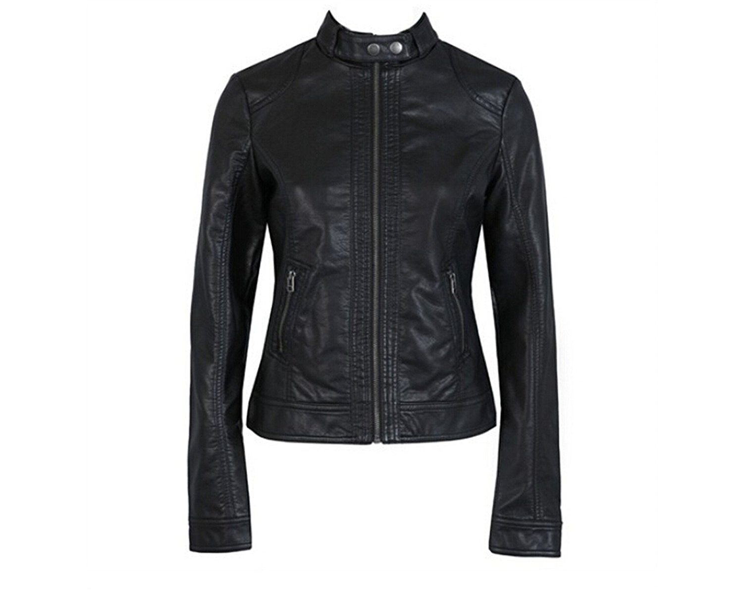 Jimmetfrend Women's Jacket Fashion Leather Pimkie Cleaning Single PU Leather Motorcycle Jacket